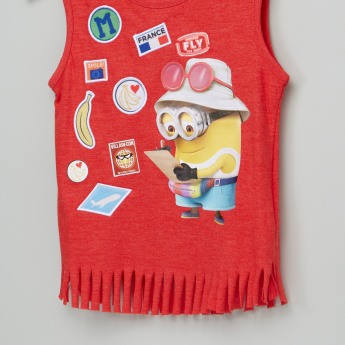 Minions Printed Sleeveless Fringe Detail T-Shirt
