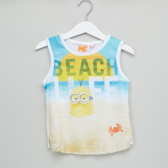 Minions Printed Sleeveless T-Shirt