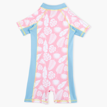 Juniors Printed Romper Swimsuit with Zip Closure