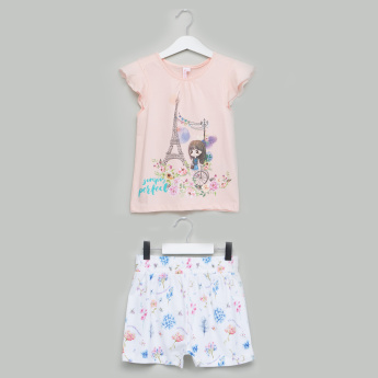 Juniors Printed Cap Sleeves T-Shirt with Shorts
