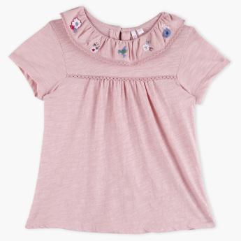 Juniors Embroidered Short Sleeves Top