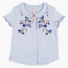 Juniors Embroidered Shirt with Peter Pan Collar