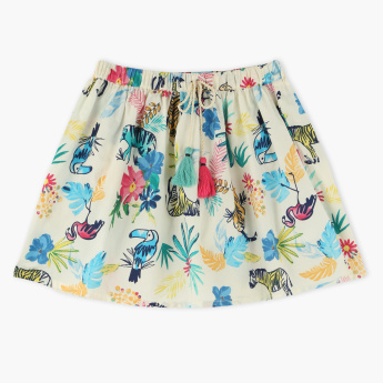 Juniors Jungle Printed Skirt with Elasticised Waistband and Tassels