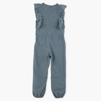 Juniors Embroidered Round Neck Jumpsuit