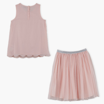 Posh Embellished Top and Tulle Skirt Set