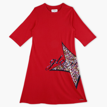 Lee Cooper 3/4 Sleeves Sequin Detail Dress
