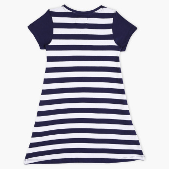 Lee Cooper Striped Round Neck Short Sleeves Dress
