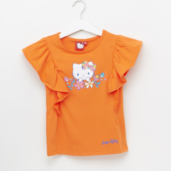 Hello Kitty Printed Cap Sleeves Top