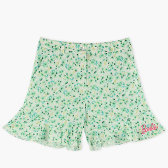 Barbie Printed Shorts with Frill Detail Hem and Button Closure