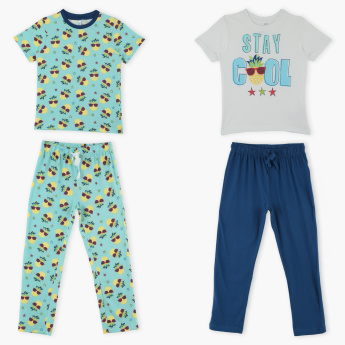 Juniors Printed T-Shirt with Pants - Set of 2