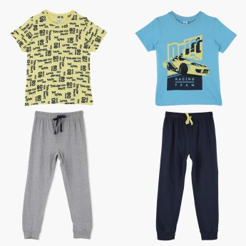 Juniors Printed Short Sleeves T-Shirt with Jog Pants - Set of 2