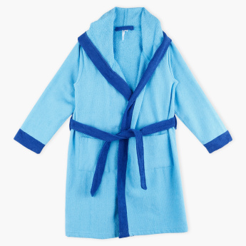 Juniors Plush Bathrobe with Long Sleeves and Tie-Up