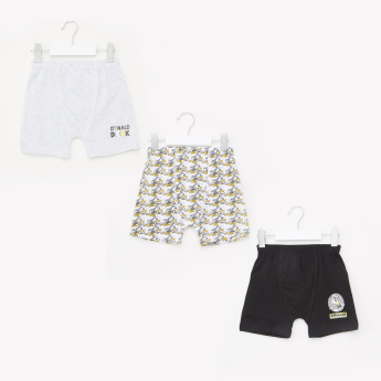 Donald Duck Printed Shorts with Elasticised Waistband - Set of 3