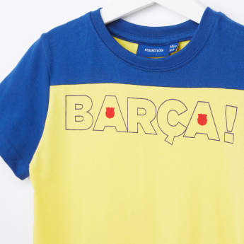 FC Barcelona Printed T-Shirt with Bermuda Shorts