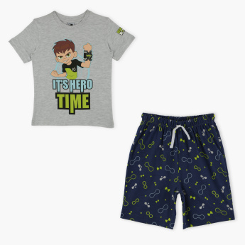 Ben 10 Printed T-Shirt and Shorts Set