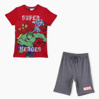 Avengers Printed T-Shirt with Shorts