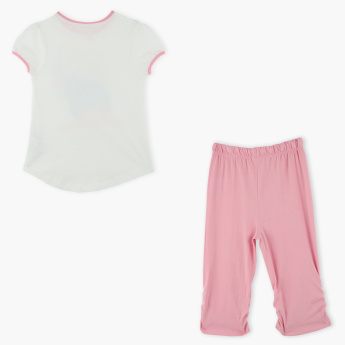 Juniors Printed T-Shirt with 3/4 Pants