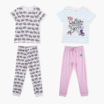 Printed T-Shirt with Jog Pants - Set of 2