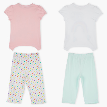 Juniors Printed T-Shirt with Pants- Set of 2