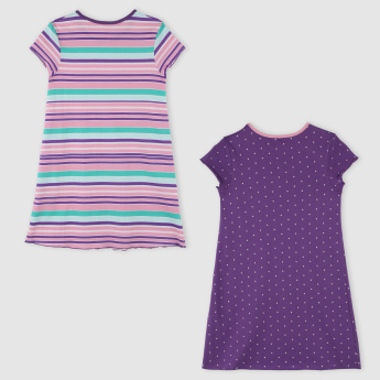 Juniors Round Neck Cap Sleeves Sleep Dress - Set of 2