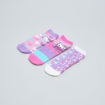 Giggles Hello Kitty Printed Trainer Liner Socks - Set of 3