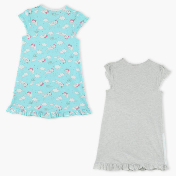 Marie the Cat Printed Round Neck Sleep Dress - Set of 2