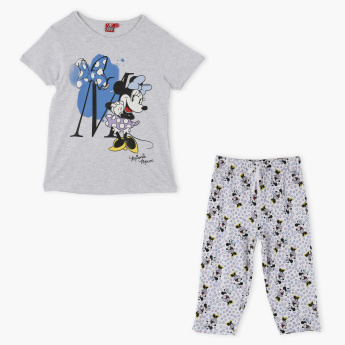 Minnie Mouse Printed Short Sleeves T-Shirt and Pyjama Set