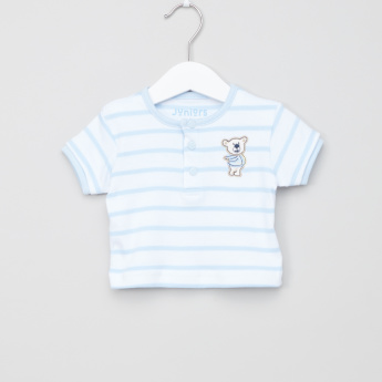 Juniors Striped Short Sleeves Top and Pyjama Set