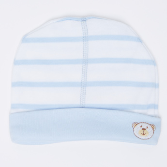 Juniors Striped Cap with Bear Embroidery