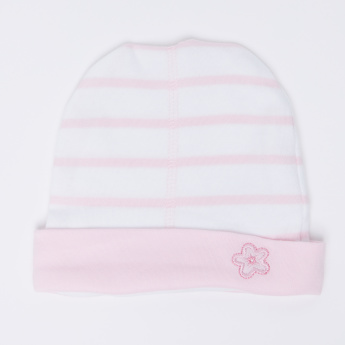 Juniors Striped Beanie Cap with Embroidery