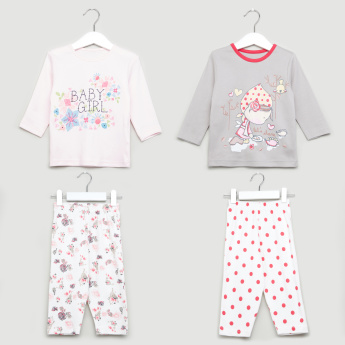Juniors Printed T-Shirt and Pyjamas - Set of 2
