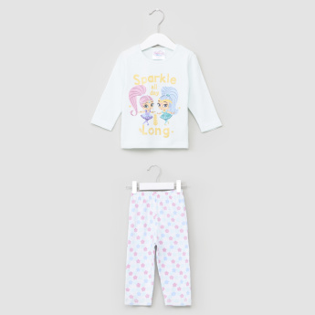 Shimmer and Shine Printed T-Shirt with Jog Pants