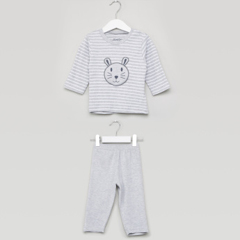 Juniors Striped T-shirt and Full Length Pyjama Set