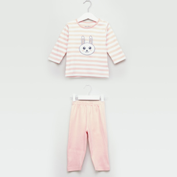 Juniors Striped Long Sleeves T-shirt and Pyjama Set
