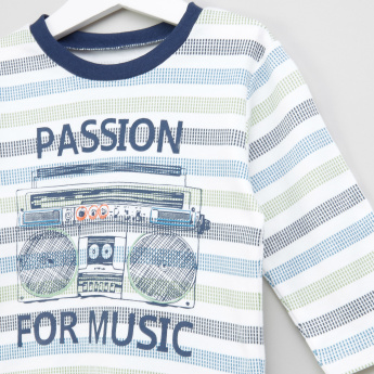 Juniors Printed Long Sleeves T-Shirt and Pyjamas - Set of 2