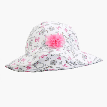 Bambi Printed Hat with Flower Applique