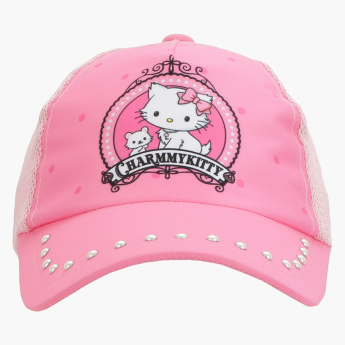 Charmmy Kitty Printed Cap with Hook and Loop Closure
