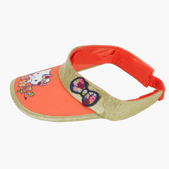 Hello Kitty Printed Visor with Bow Applique