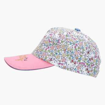 Hello Kitty Printed Cap with Hook and Loop Closure