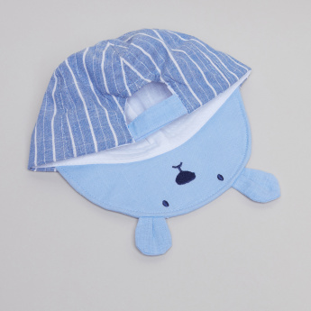 Juniors Striped Cap with Bear Applique