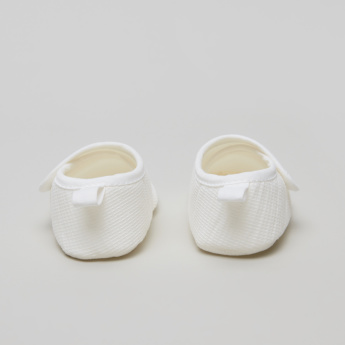 Juniors Textured Booties with Press Button Closure