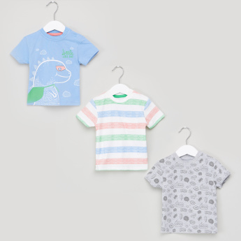 Juniors Graphic Printed Round Neck Short Sleeves T-Shirt - Set of 3