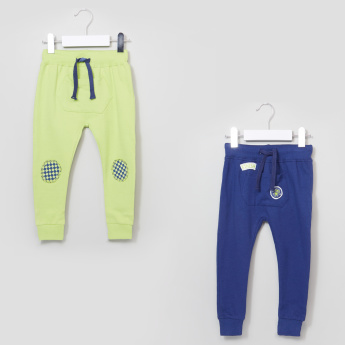 Juniors Textured Jog Pants with Elasticised Waistband - Set of 2