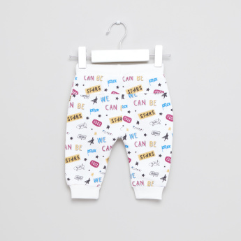 Juniors Printed Jog Pants with Drawstring - Set of 2
