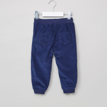 Juniors Textured Jog Pants with Elasticised Waistband and Drawstring