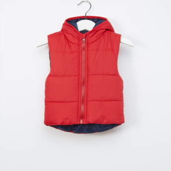 Juniors Hooded Sleeveless Jacket