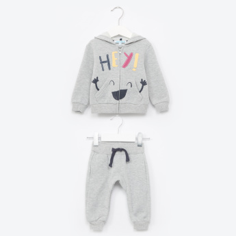 Juniors Applique Detail Hooded Jacket with Jog Pants