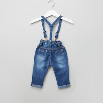 Juniors Applique Detail Jeans with Suspenders