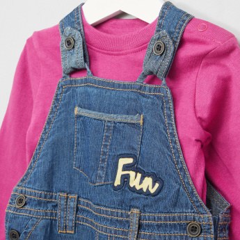 Juniors Long Sleeves T-Shirt with Dungarees