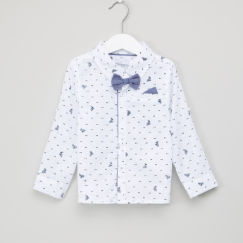 Juniors Printed Bow Detail Long Sleeves Shirt